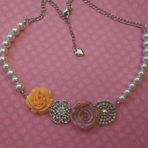 Betsey Johnson Pearl and Roses Necklace